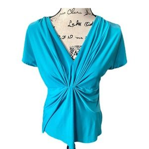 Chaus V-neck blouse/ top teal large